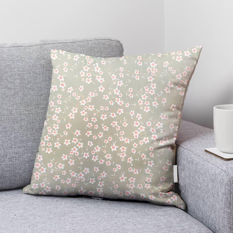 Coton vert sauge motif fleur d'amandier blanche