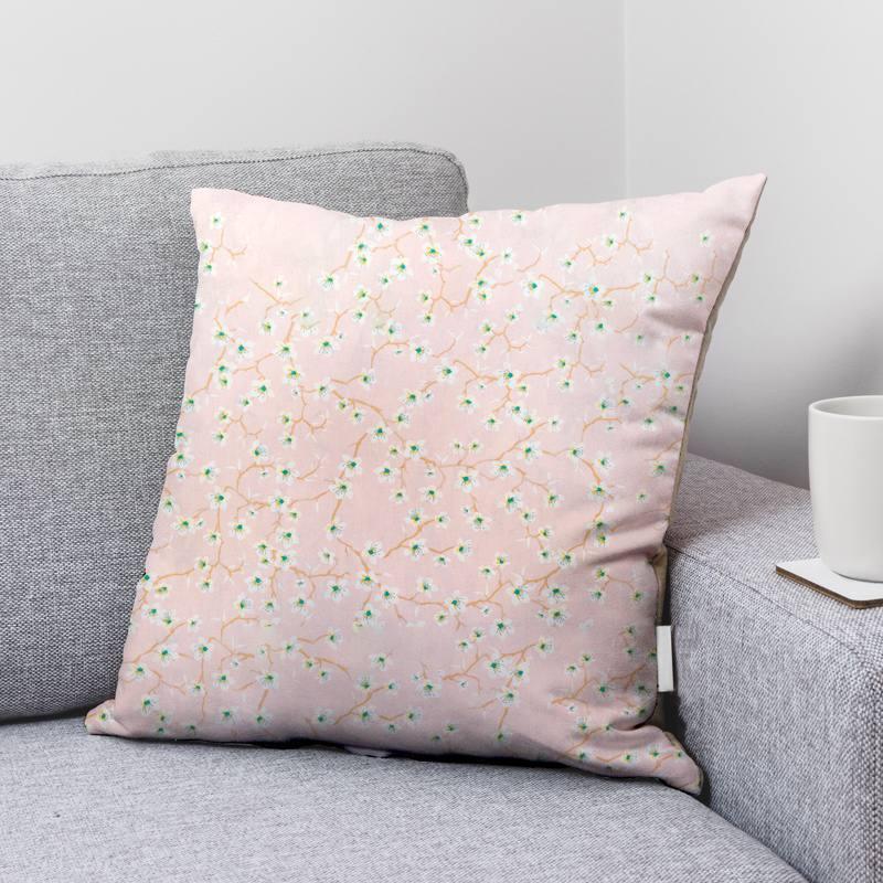 Coton rose dragée motif fleur d'amandier blanche