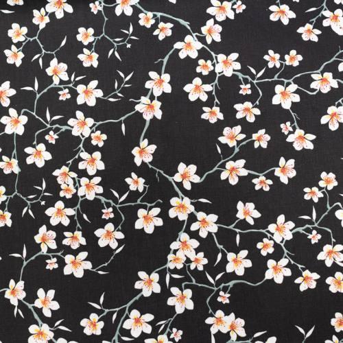 Coton noir motif fleur d'amandier blanche