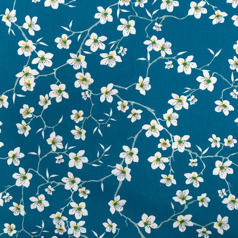 Coton bleu motif fleur d'amandier blanche