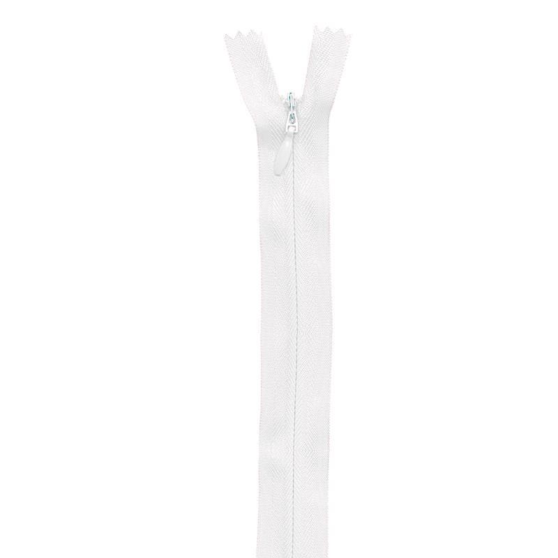 Fermeture blanche à glissière invisible 40 cm col 501