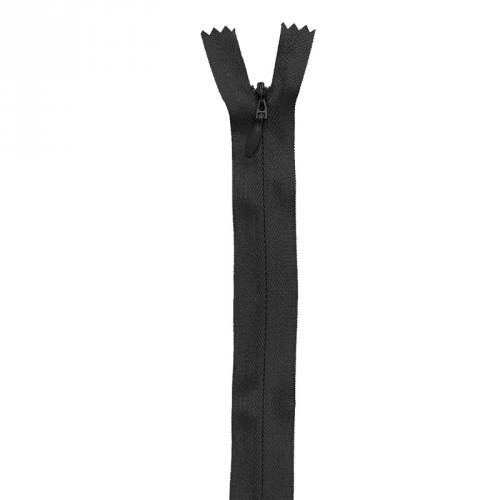 Fermeture noire à glissière invisible 22 cm col 580