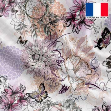 Satin écru motif attrape-rêve fleur et papillon rose violet et vert