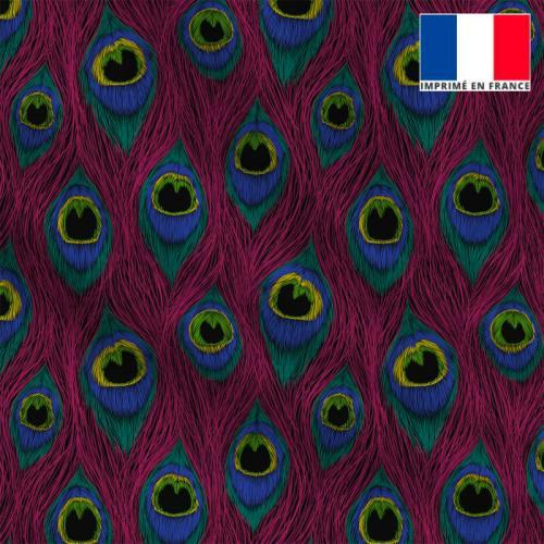 Maille scuba rose vif motif plume de paon dessin