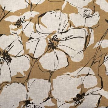 Tissu coton lin marron motif grosses fleurs noires dessinées