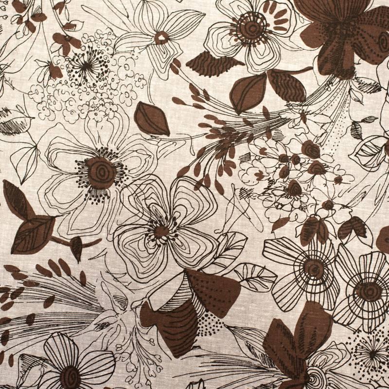 Tissu coton lin gris motif grosses fleurs noires dessinées
