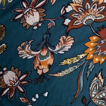 coupon - Coupon 68cm - Jersey viscose bleu motif fleur ornementale style cachemire