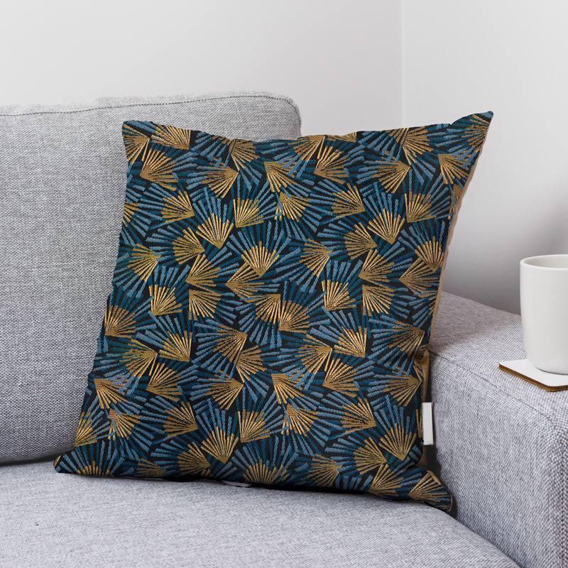 Coupon 50x68cm - Jacquard bleu marine motif éventail bleu et or