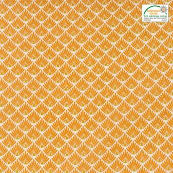 coupon - Coupon 58cm - Coton imprimé écailles safran et ocre