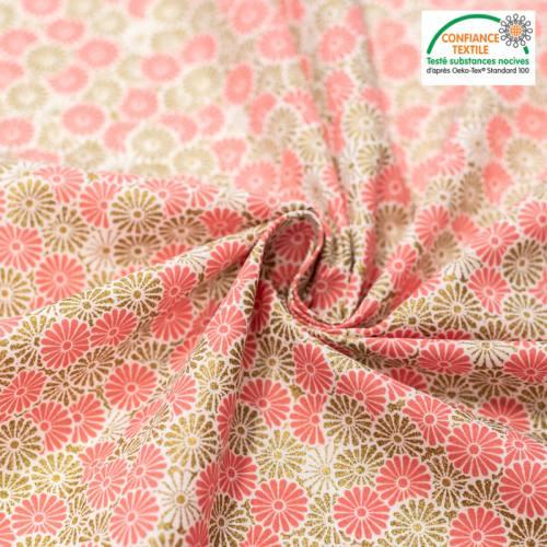 coupon - Coupon 73cm - Coton rose imprimé fleur doré brillant