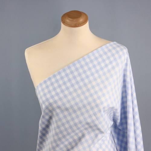 Tissus coton vichy bleu clair 10 mm