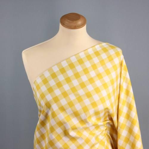 Tissus coton vichy jaune 20 mm