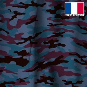 Velours ras bleu turquin imprimé camouflage bordeaux et noir
