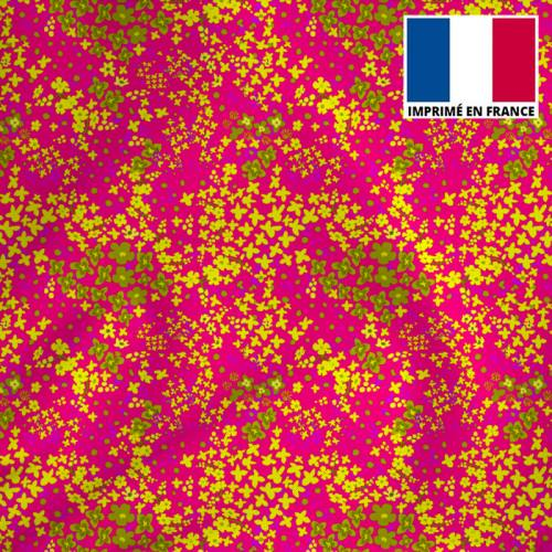 Tissu microfibre rose imprimé fleuri jaune