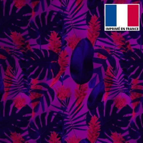 Tissu microfibre violet et bleu imprimé feuilles tropicales