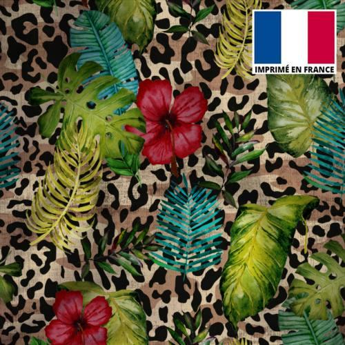 Tissu microfibre beige imprimé jungle léopard