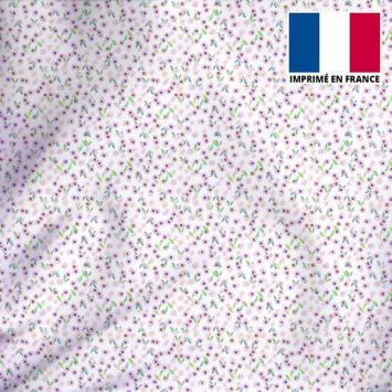 Tissu microfibre écru imprimé petites fleurs roses