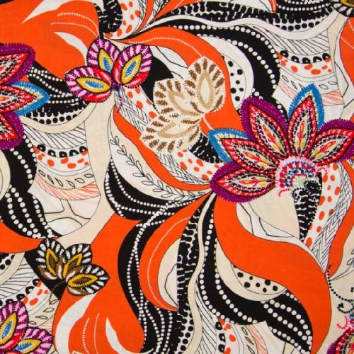 Tissu viscose orange motif rosaces prunes et marron