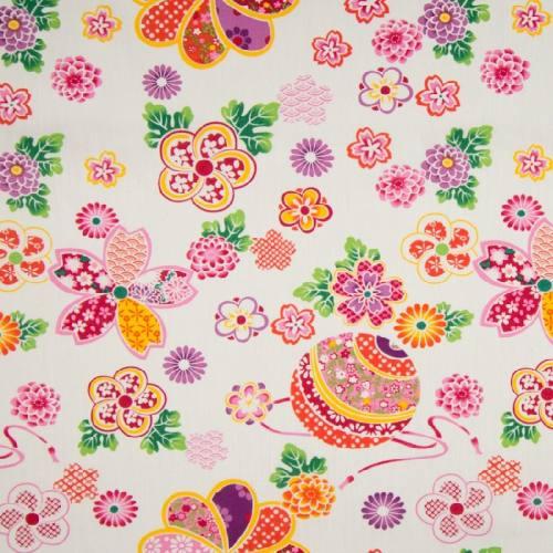 Popeline de coton écrue motif rosace fleurie orange et rose