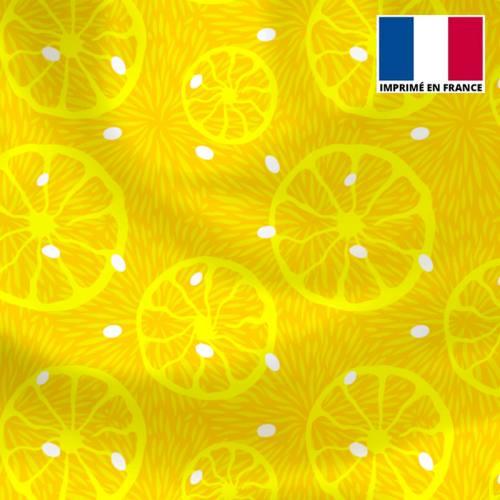 Lycra jaune motif citron et pois blanc