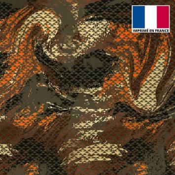 Lycra imprimé petit triangle camouflage vert militaire et orange