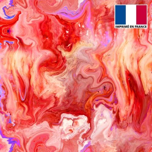 Lycra motif flux coloré rouge rose et bleu