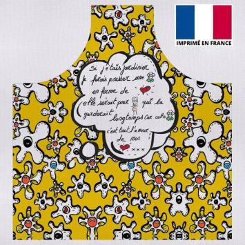 Kit canvas pour tablier motif fleur poème jaune - Création Anne-Sophie Dozoul