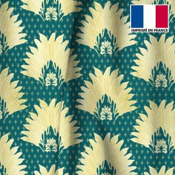 Velours ras bleu canard motif poinçon de lys et feuille jaune clair