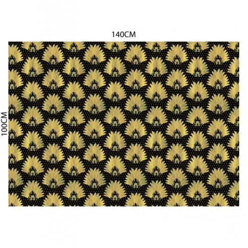 Velours ras noir motif poinçon de lys et feuille jaune
