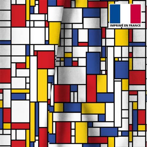 Velours écru motif rectangles jaunes rouges et bleus