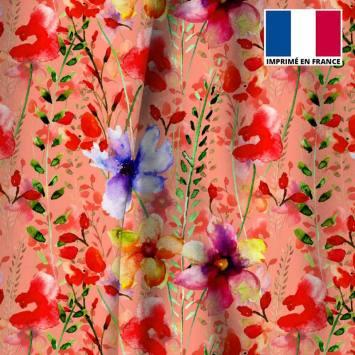 Velours ras corail imprimé peinture de fleurs rouges et bleues