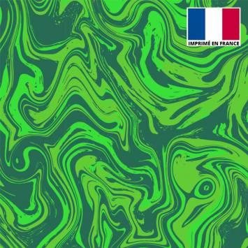 Lycra imprimé fluide art vert clair et vert foncé