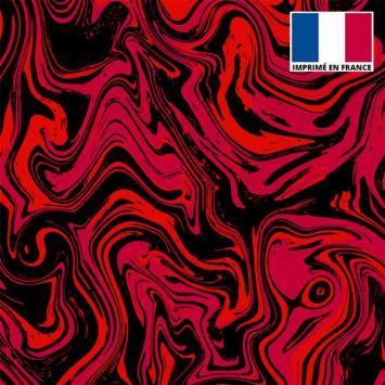 Lycra imprimé fluide art rouge et noir