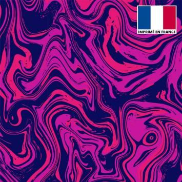 Lycra imprimé fluide art rose et violet