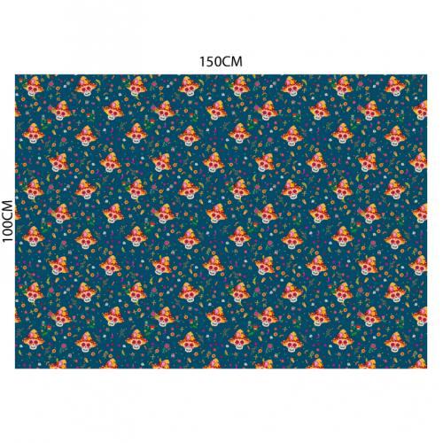 Tissu burlington bleu imprimé tête de mort mexicaine