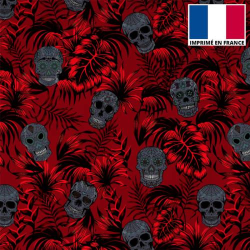 Tissu burlington rouge imprimé jungle tête de mort grise