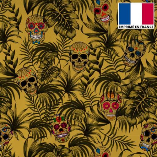 Tissu burlington ocre imprimé jungle tête de mort ocre