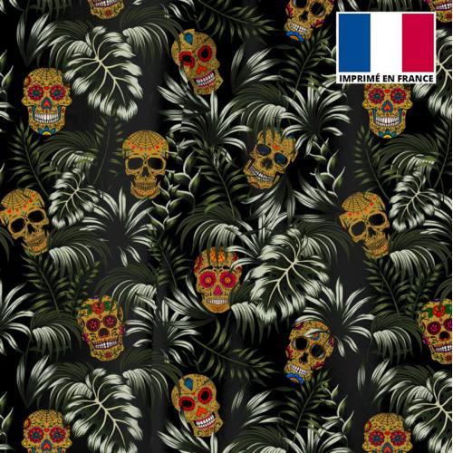 Velours noir imprimé jungle tête de mort ocre