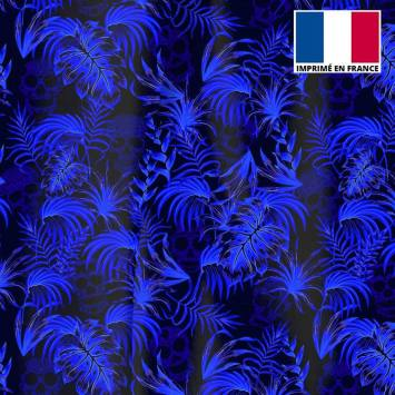 Velours ras noir imprimé jungle tête de mort bleue