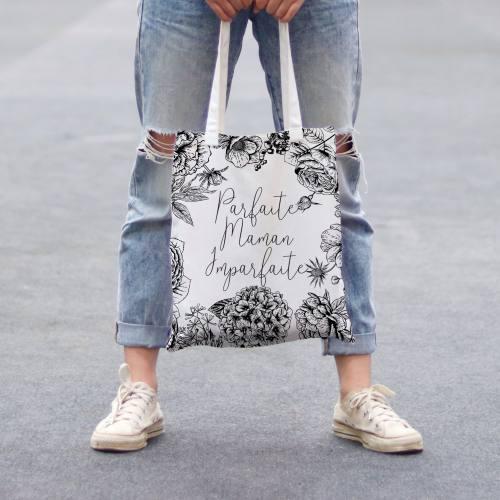 Coupon 45x45 cm toile canvas écrue motif maman parfaite noir
