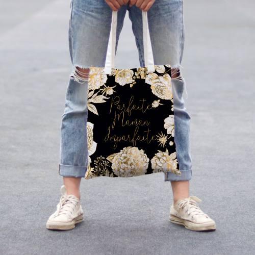 Coupon 45x45 cm toile canvas noire motif maman parfaite or