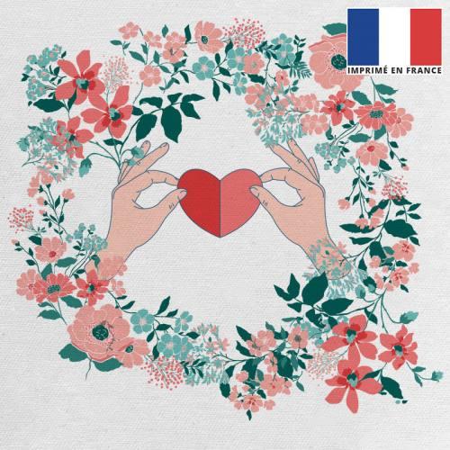 Coupon 45x45 cm toile canvas écrue motif fleur et coeur rouge et vert