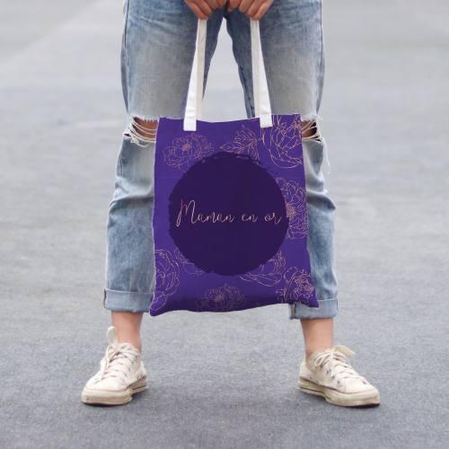 Coupon 45x45 cm toile canvas violet motif maman en or