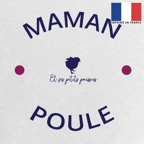 Coupon 45x45 cm toile canvas écrue motif maman poule