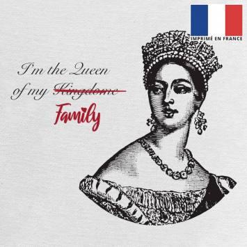 Coupon 45x45 cm toile canvas écrue motif family queen