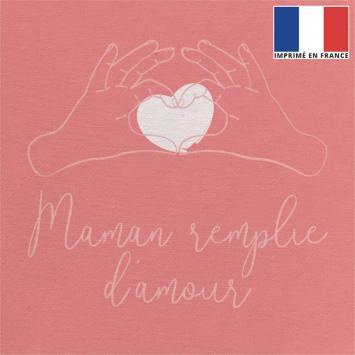 Coupon 45x45 cm toile canvas rose motif maman remplie d'amour