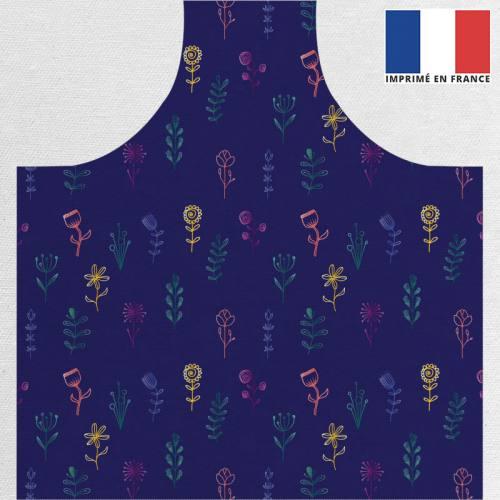 Patron imprimé sur canvas pour tablier bleu motif fleurs des champs