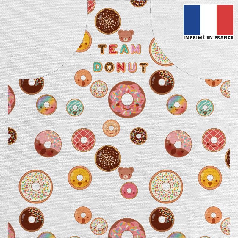 Patron imprimé pour tablier motif donuts colorés