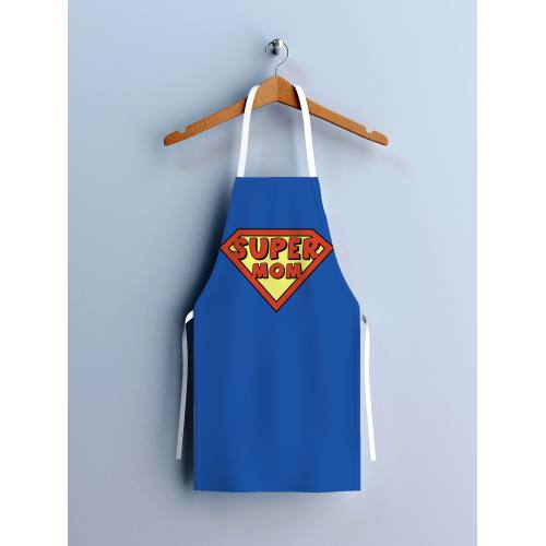 Kit canvas pour tablier bleu motif Super Mom
