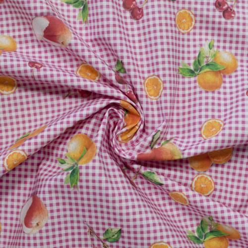 Coton vichy rose motif fruits